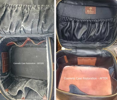 Cosmetic case before and after being restored