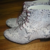 ladies lace up ankle boot snake print