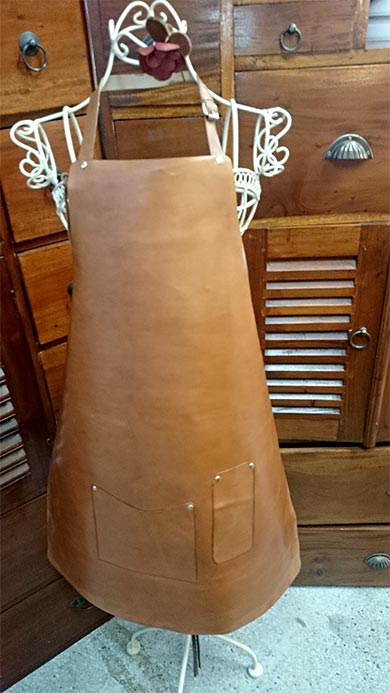 handmade leather apron and accessories